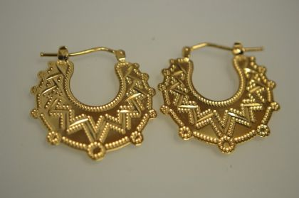 9ct Gold Solid Flat Gypsy Earrings